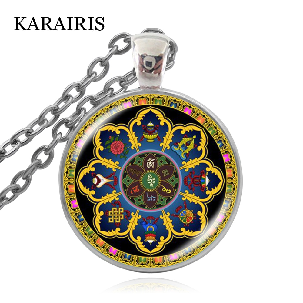Karairis vintage om indiano yoga mandala colar cúpula de vidro budista chakra bullion de vidro pingente colar jóias para homem mulher