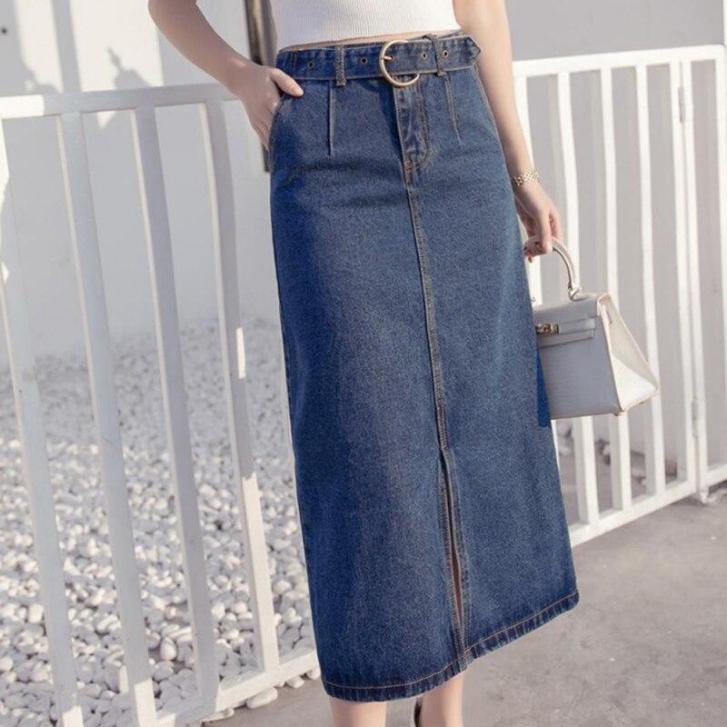 Vintage Long Denim Skirt High Waist Pencil Black Blue Slim Women SkirtsLadies Office Sexy Jeans Faldas