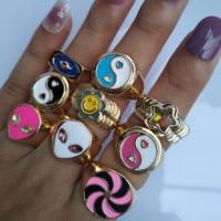 Любовь кольцо для женщин маленькая Маргаритка в форме тюльпана от инь (железная Гуаньинь) Кольца Янг для девочек для отдыха, послеполуденны...