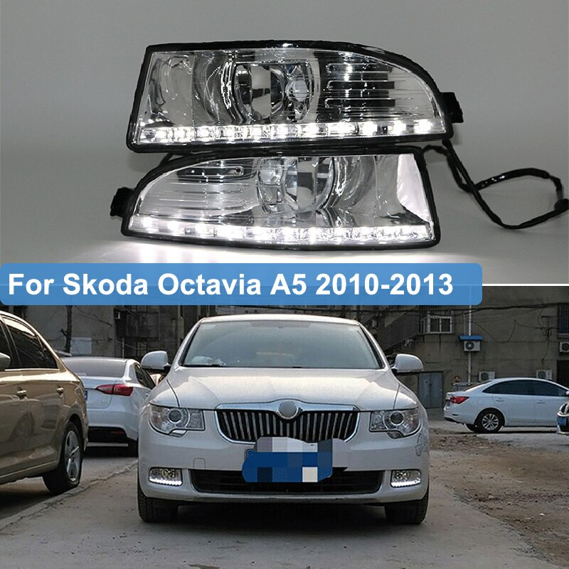 2 uds. Para Skoda Octavia A5 2010 2011 2012 2013 LED luz diurna LED DRL antiniebla lámpara casa 12V accesorios impermeables
