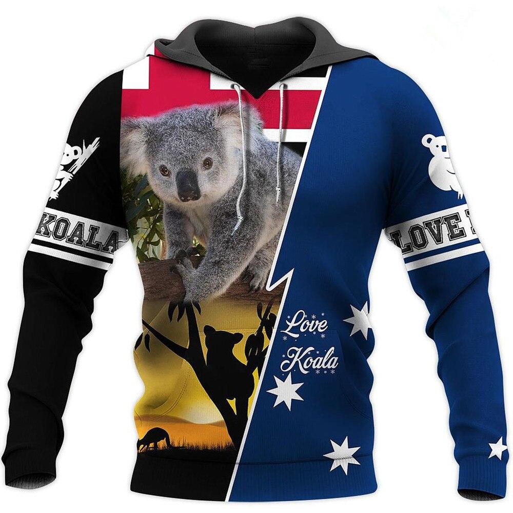 Толстовка Koala Мужская/Женская с 3D-принтом, кофта на молнии, Повседневная модная кофта с капюшоном, топ, Осень-зима