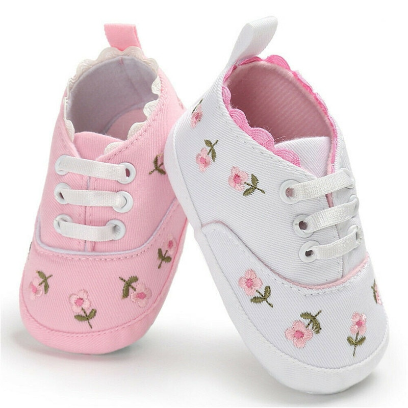 Pudcoco Cute Baby Girl Crib Shoes Newborn Flower Embroidery Soft Sole Prewalker Sneakers