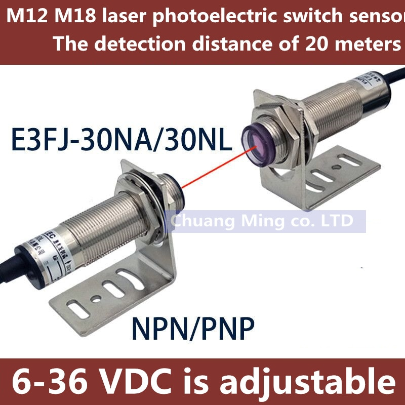 sce ip68 npn pnp output photoelectric switch sce 16 20 M12 M18 Laser Visible Light Sensor Thru-beam Photoelectric Switch 20 Meters Adjustable 6-36VDC IP67 200mA NPN /PNP NO /NC