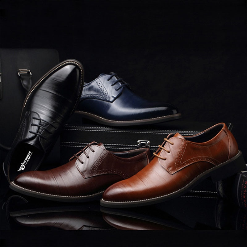 Brand Business Men Shoes Formal Dress Man Pointed Oxford Ankle Flats Casual Platform Shoes Men Office Wedding Timber Land Shoes