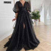 fivsole black starry tulle prom dress sparkly v neck half puff sleeves ruched wedding party dresses slit long a line prom gowns