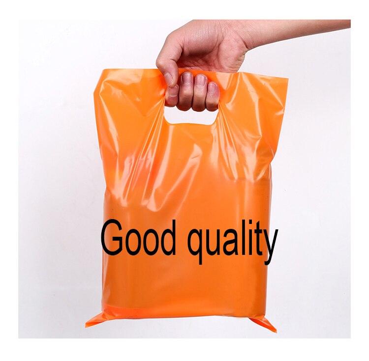 Sacos de compras plásticos feitos sob encomenda do logotipo de 100 pces com punho, saco plástico do portador do presente da embalagem do malote da joia