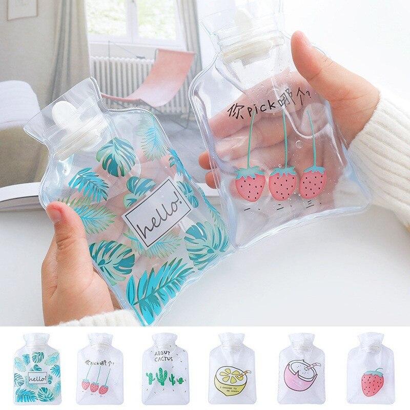 Mini calentador de dibujos botella de agua caliente de mano Linda bolsa de calor transparente pequeño calentador para manos Portátil Bolsa de almacenamiento de inyección de agua