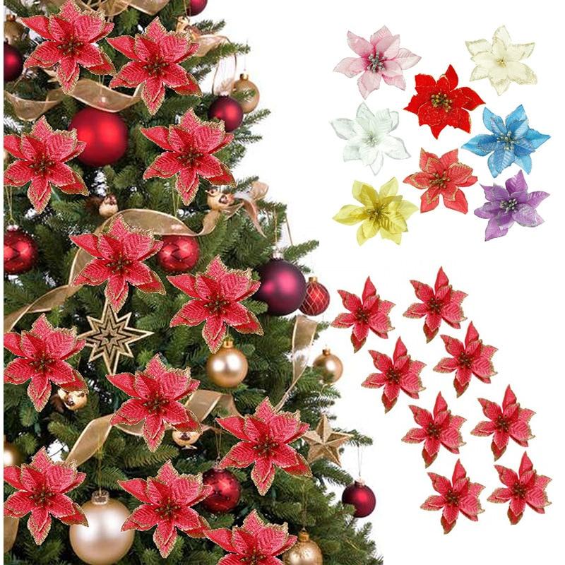 5/10 шт., рождественские украшения, блестящие искусственные цветы, декор для рождественской елки, для дома, вечеринки 2022, новогодние украшения...