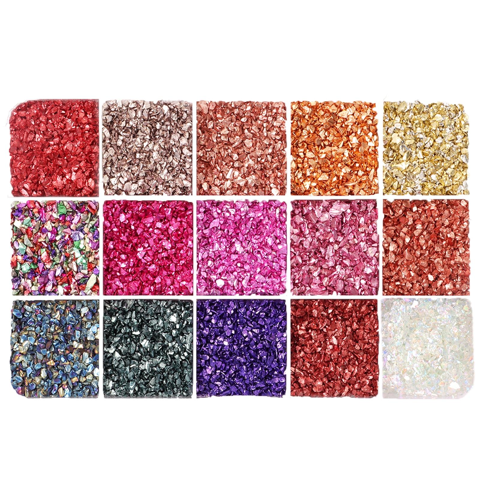 Разноцветный смешивающий щебень для ногтей, искусственный кристалл для рукоделия, блеск для самостоятельного изготовления эпоксидной смо...