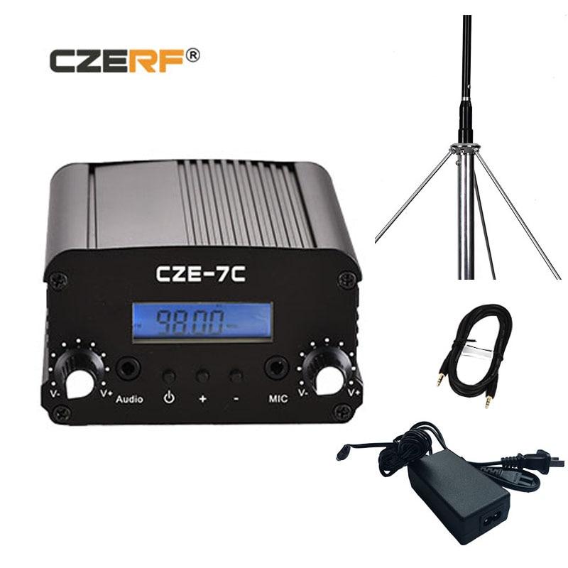 CZE-7C 1 واط 7 واط لاسلكي FM جهاز إرسال لاسلكي PLL ستيريو LCD مع مجموعات هوائي في الهواء الطلق