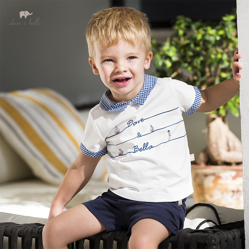 DB16901 ديف بيلا طفل الفتيان الصيف عادية الكرتون مخطط مجموعة ملابس الاطفال الصبي موضة قصيرة الأكمام مجموعات الأطفال 2 قطعة دعوى