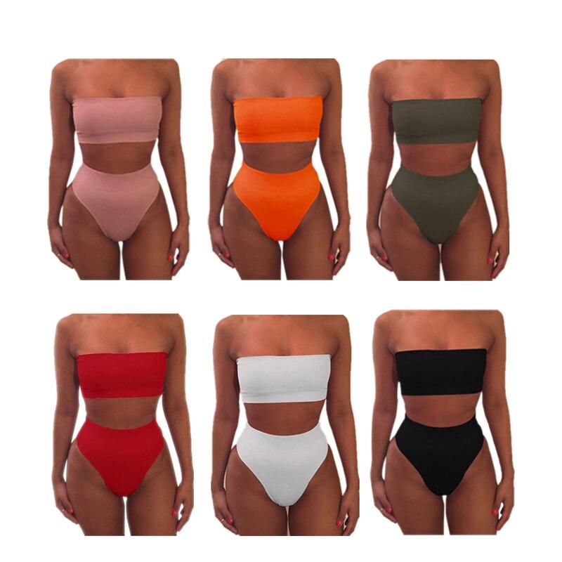 Women Sexy Bikini Set Off Shoulder Wrapped Chest Solid Push Beachwear Swimwear Swimsuit