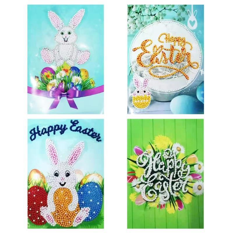 4 Uds 5D DIY pintura de diamante tarjetas de felicitación regalos de fiesta de cumpleaños tarjetas manualidad para regalo para niños decoración de vacaciones