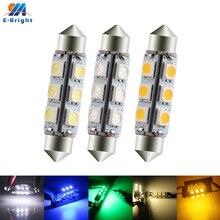 2 pièces 44mm DC12V 5050 12 SMD LED C5W Festoon ampoule voiture dôme lecture plafond Pate numéro lampe blanc bleu rouge vert ambre blanc chaud