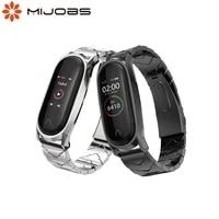 mijobs mi band 5 strap v style metal bracelet for xiaomi mi band 3 strap correa stainless steel mi band 3 4 5 6