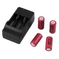 gtf 4 pces 16340 3 7v 2500mah refillable li ion battery electric lantern charger
