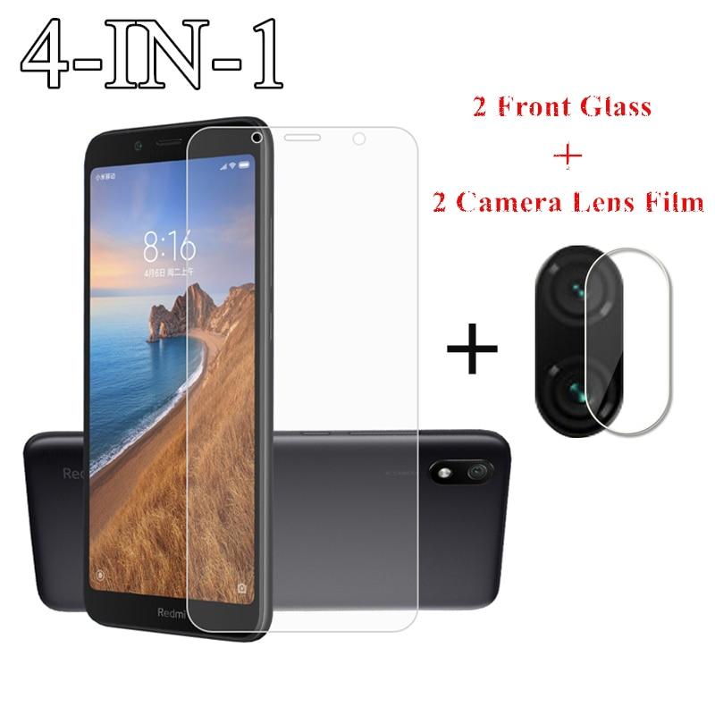 2Pcs For Xiaomi Redmi 7A Glass For Xiaomi Redmi Note 9S 8 7 Pro 6 6A 8A 8T Tempered Glass Film Screen Protector Camera Lens Film