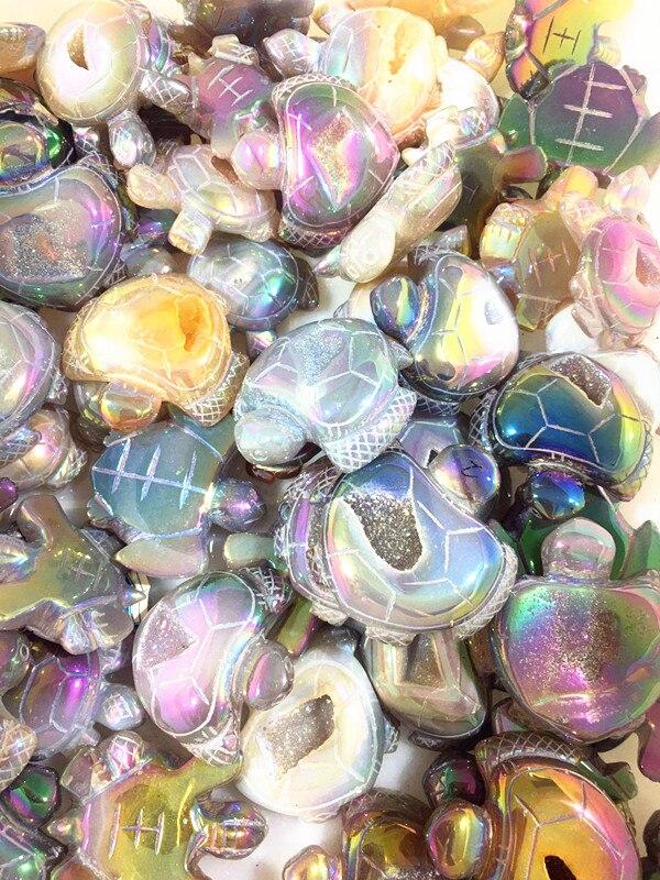 Hand-carved natural quartz crystal angel Halo tortoise home decor pendant chakra