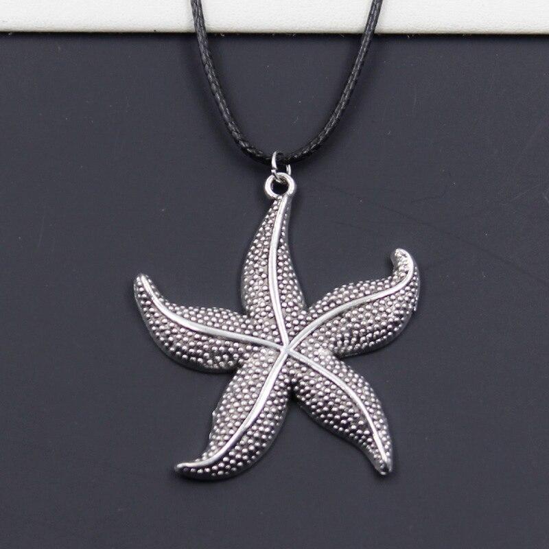 Nuevo Negro Durable Cordón de cuero Faux gargantilla mar estrellas de mar encanto DIY collar de Boho de plata tibetana Color colgante Dropshipping. Exclusivo.