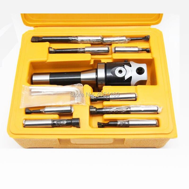 Alta precisão 2 polegada F1-12 50mm chato cabeça, eixo R8-M12 + 9 pces carboneto 12mm chato ferramenta conjunto