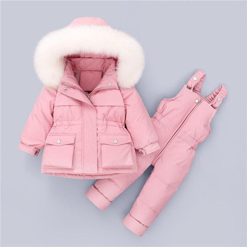 Зимний лыжный костюм для мальчиков и девочек, детский комплект одежды на утином пуху, детская теплая куртка из натурального меха, штаны, комбинезоны, детская одежда, комбинезон TZ190