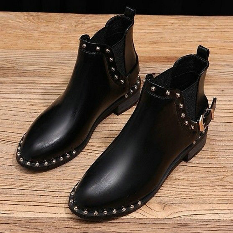Fashion Chelsea Boots Women's Ankle Boots Winter Plush Warm Shoes Style Girls Boot Pointed Toe Metal Rivets Shoes Woman Boot trendy metal rivets and solid color design ankle boots for women