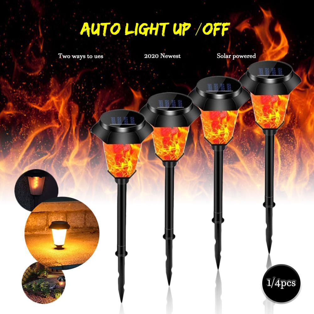 Simulated Dynamic Flame Solar Powered Lawn Light Outdoor Waterproof Garden Decor Energy Save Landscape Light Front Porch Decor