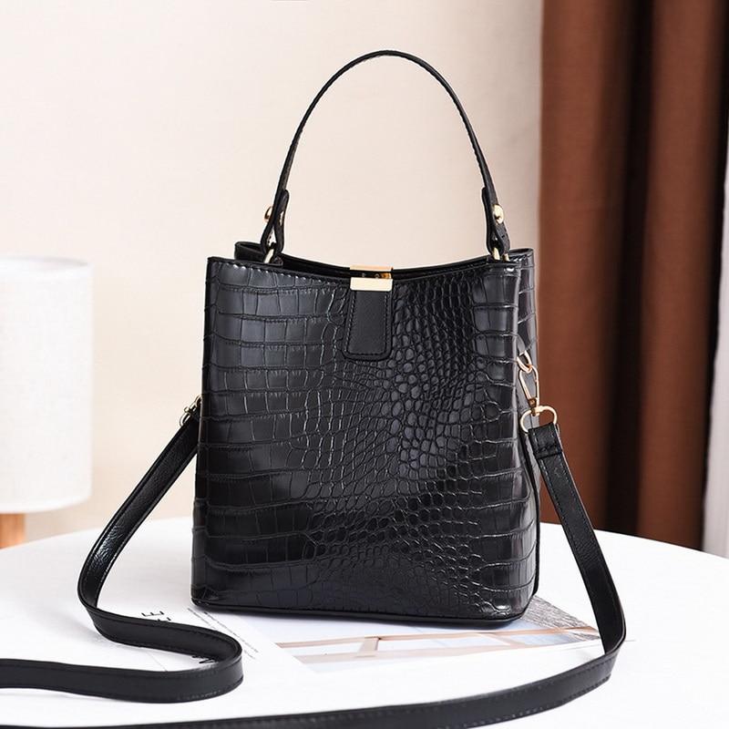 Vintage Alligator Bucket Bags Women Crocodile Pattern Handbag Capacity Casual Crocodile Shoulder Mes