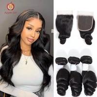 loose wave bundles with closure transparent lace closure with bundles brazilian applegirl remy human hair 30 inch