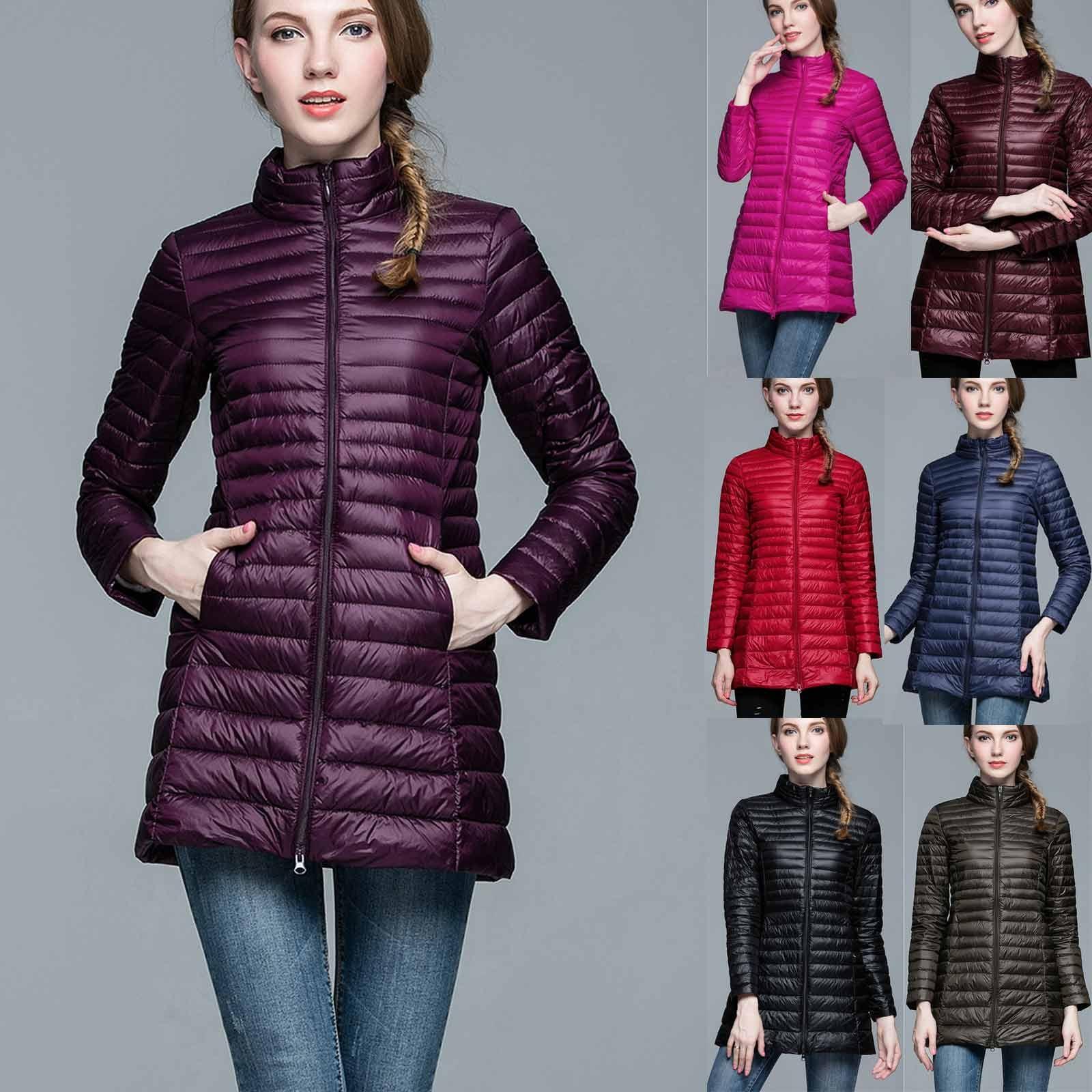 Chaqueta con bolsillos y cremallera, Abrigo de invierno cálido para Mujer, Parkas...