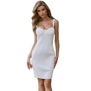 2020 Autumn New Women Sleeveless V Neck Bandage Dress Sexy Bodycon Backless Celebrity Party White Dresses Vestidos