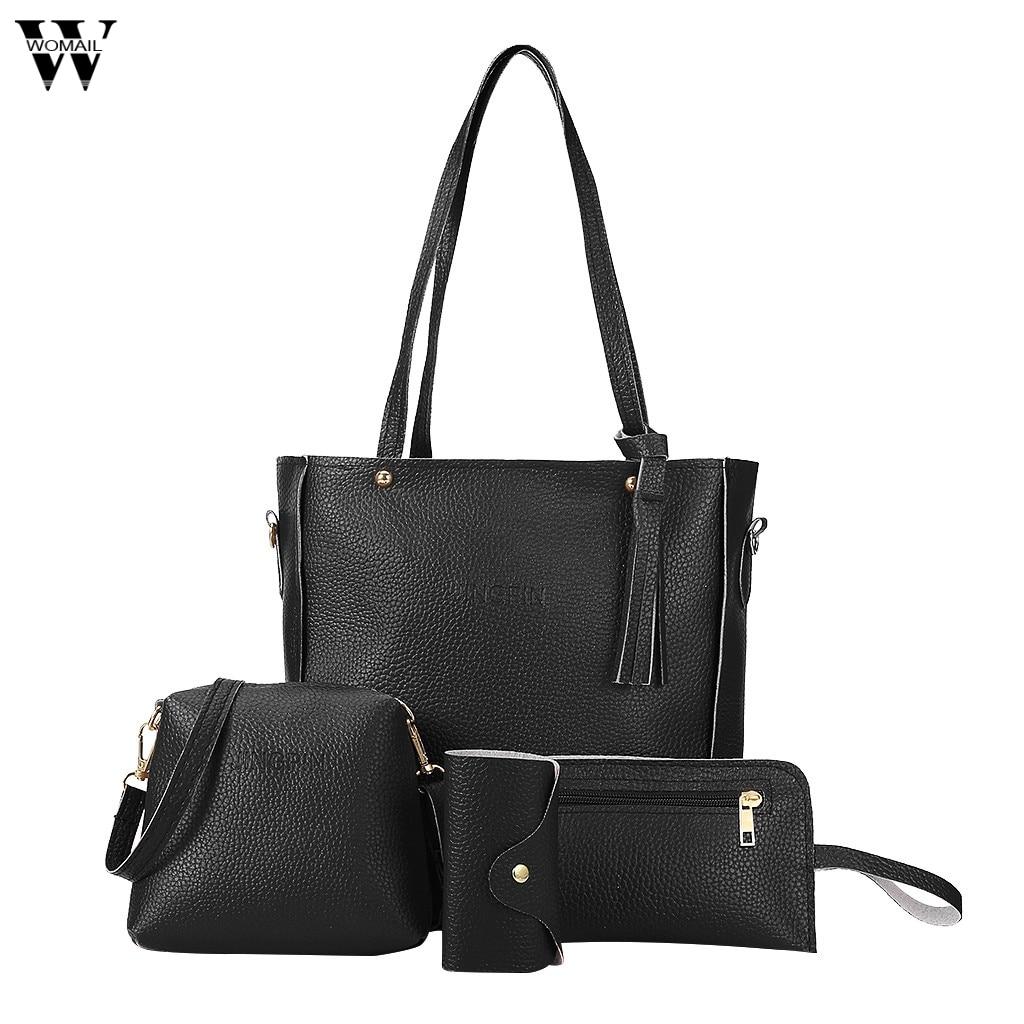 Fashion 4pcs Womail Bag Set Female Purse and Handbag Womens Four-Piece Shoulder Bag Tote Messenger Purse Bag