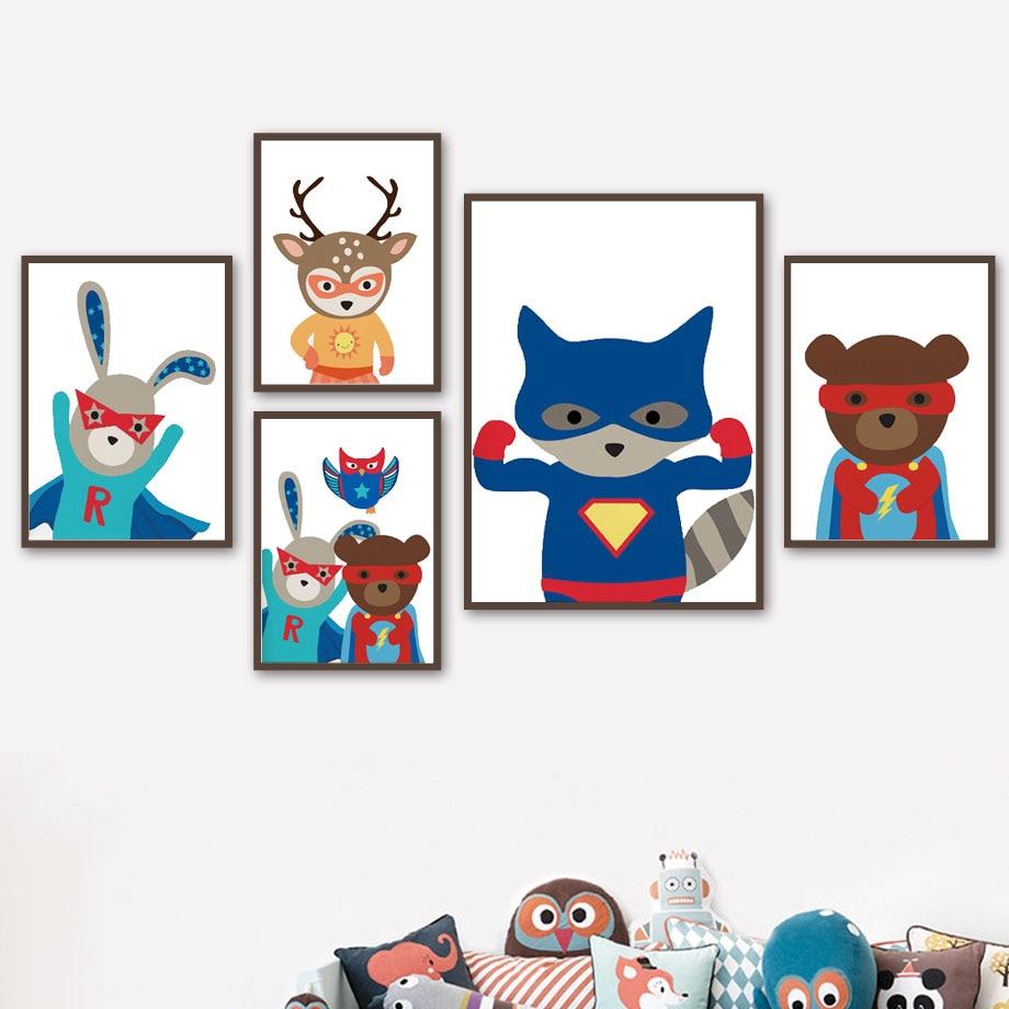Cuadro sobre lienzo para pared dibujos animados de superhéroe oso conejo ciervo zorro carteles nórdicos e impresiones cuadros de pared decoración del hogar de la habitación de los niños