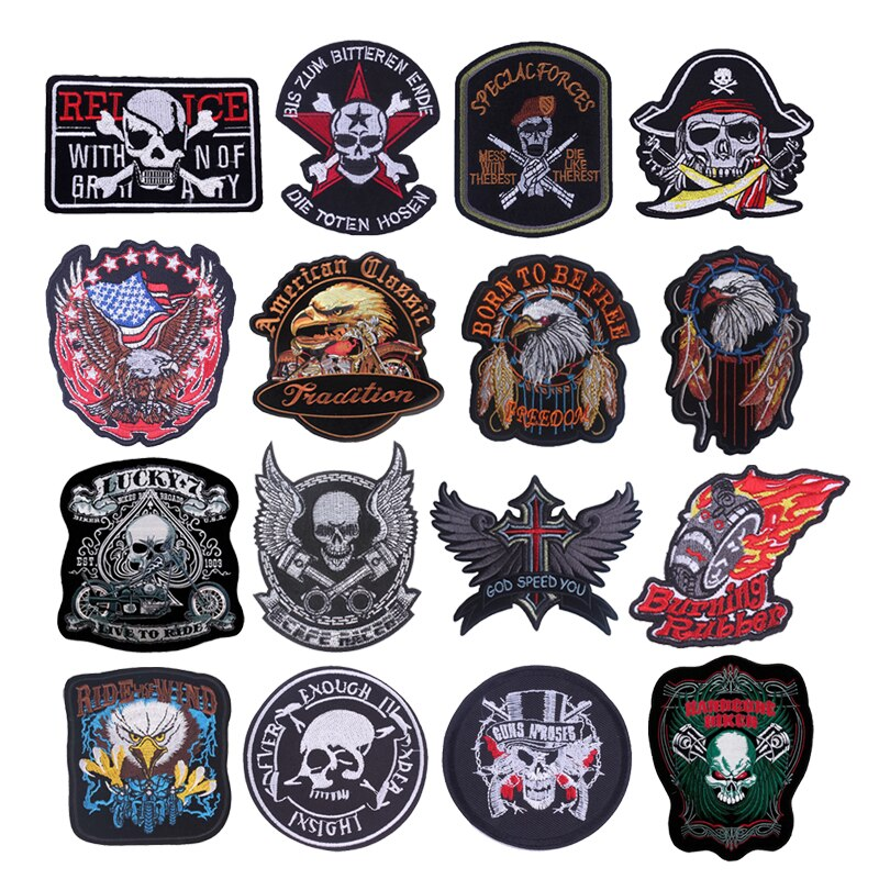 Punk Skull Stickers On Fabric Eagle Art DIY Badges Sewing Stripes Applique Stripes For Jeans Embroidery Patch Patches On Clothes