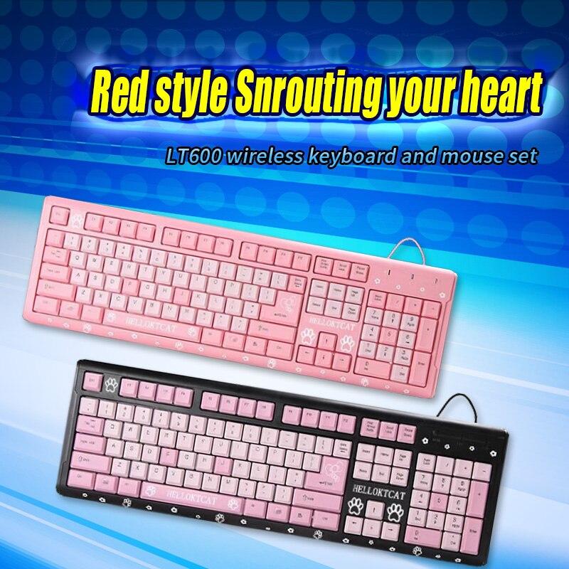الوردي 104 لوحة المفاتيح السلكية. مناور يشعر لطيف USB رقيقة جدا الكرتون القط لعبة المنزل مكتب لوحة المفاتيح مناسبة للكمبيوتر المحمول