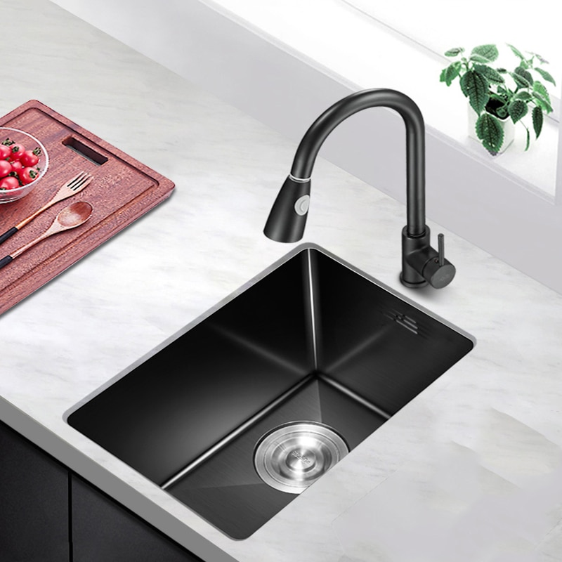 38x30 سنتيمتر صغير أسود بار بالوعة 304 حوض مطبخ ستنلس ستيل Undermount وعاء واحد لتحسين المنزل مع استنزاف اكسسوارات