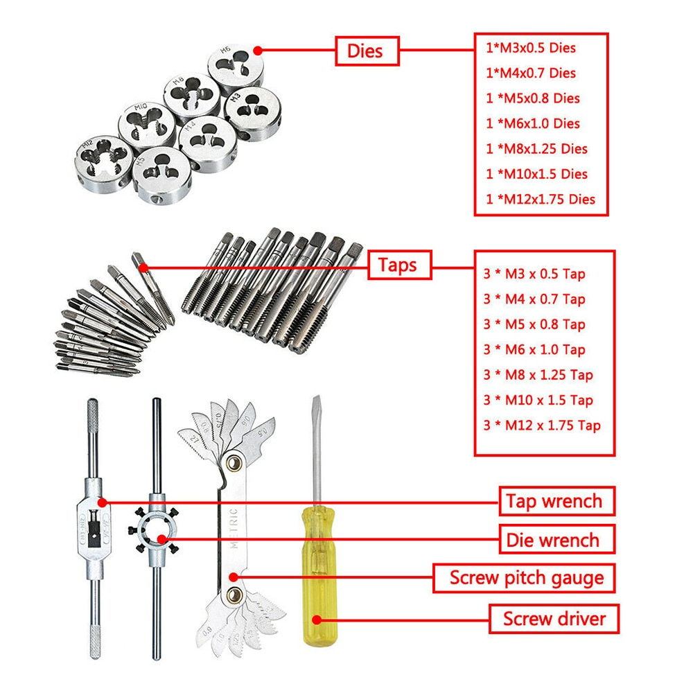 32pcs Tap Die Set Metric Wrench Cut M3-M12 Steel Hand Threading Tool Bolts Engineer Kit with Storage Case enlarge