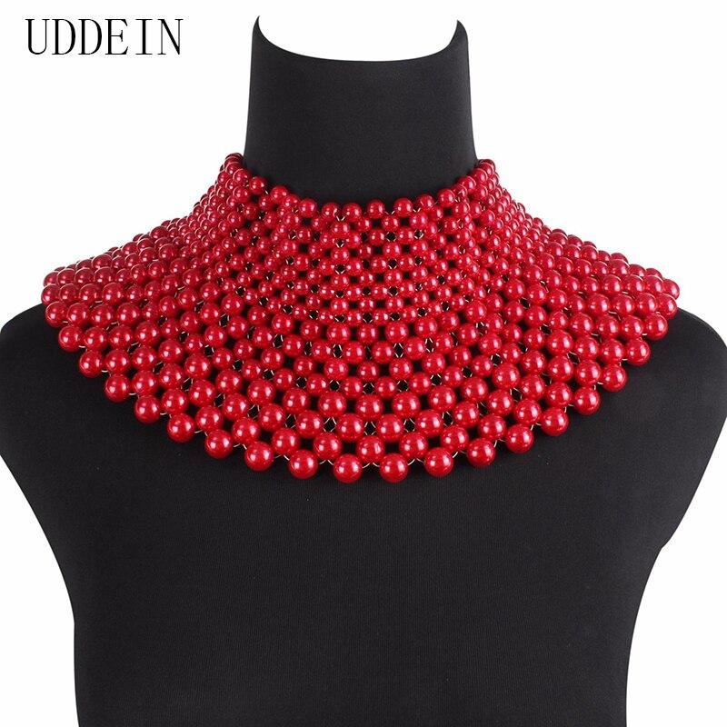 UDDEIN joyería india de moda hecha a mano Collar de cuentas para mujer Collar babero cuentas gargantilla Maxi Collar vestido de boda