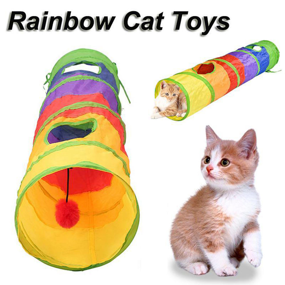 Túnel divertido para mascotas, túnel de juego para gatos, túnel plegable de 2 agujeros, juguete para gatos, juguete a granel, túnel de conejo, cueva de gato, juguete interactivo para gatos