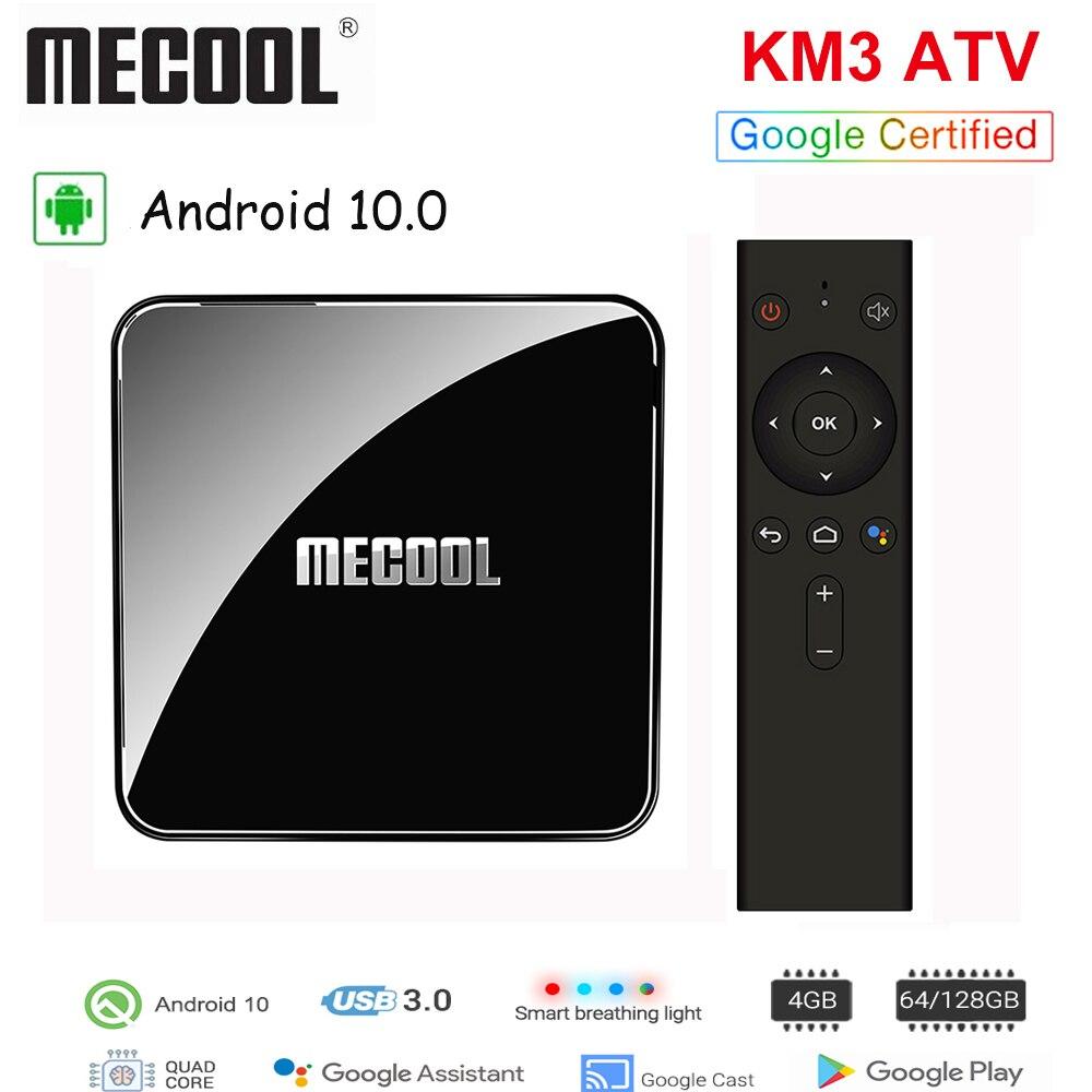 MECOOL 4GB RAM 128GB ROM KM3 ATV Android 10,0 caja de TV S905X2 4K BT 4,1 Control de voz Media Player 2,4G/5G WiFi Smart Set TV Box