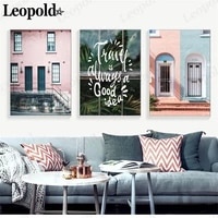 nordic architecture canvas poster green plant door letter painting wall art modern living room home decoration accessories