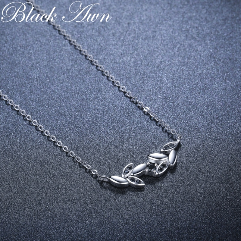 2021 New Black Awn Silver Necklace Genuine 100% 925 Sterling Silver Necklace Women Jewelry Leaf Pendants P202