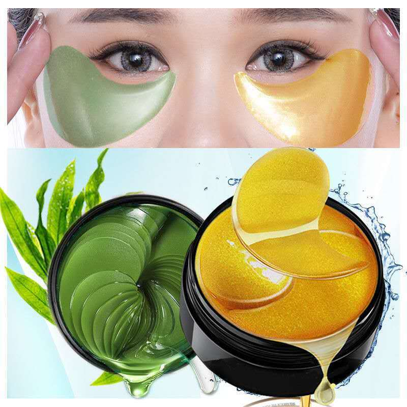 60pcs Green Seaweed Gold Eye Mask Patches Remove Dark Circles Moisturize Crystal Collagen Gel Skin Care TSLM2