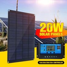 Panel Solar de 20W, 12V, 18V con Clip de batería + controlador de cargador Solar de coche de 10/20/30/50A, células solares para acampar al aire libre y senderismo