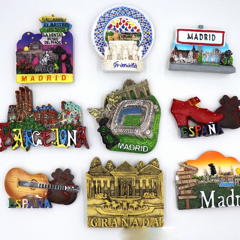 Imanes para la nevera de España, Madrid y Barcelona, imanes de resina...