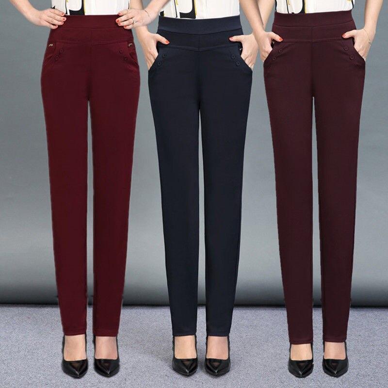 2020 nova primavera outono calças retas mulheres magro casual escritório calças femininas cintura alta bolso pantalon plus size 5xl