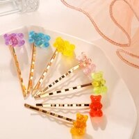 2021 ornament new jelly bear candy color hair clip creative retro simple side clip crystal headband accessories fashion jewelry
