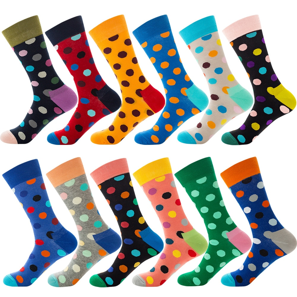 Women And Teenage Girls Over Ankle Long Combed Cotton Female Polka Dot Socks