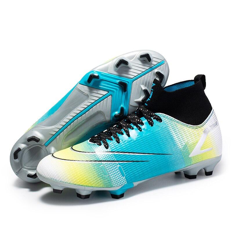 Мужские футбольные бутсы TF/FG, футбольные бутсы, уличные Высокие Детские сникерсы с шипами для тренировок, спортивные кроссовки с длинными ш...
