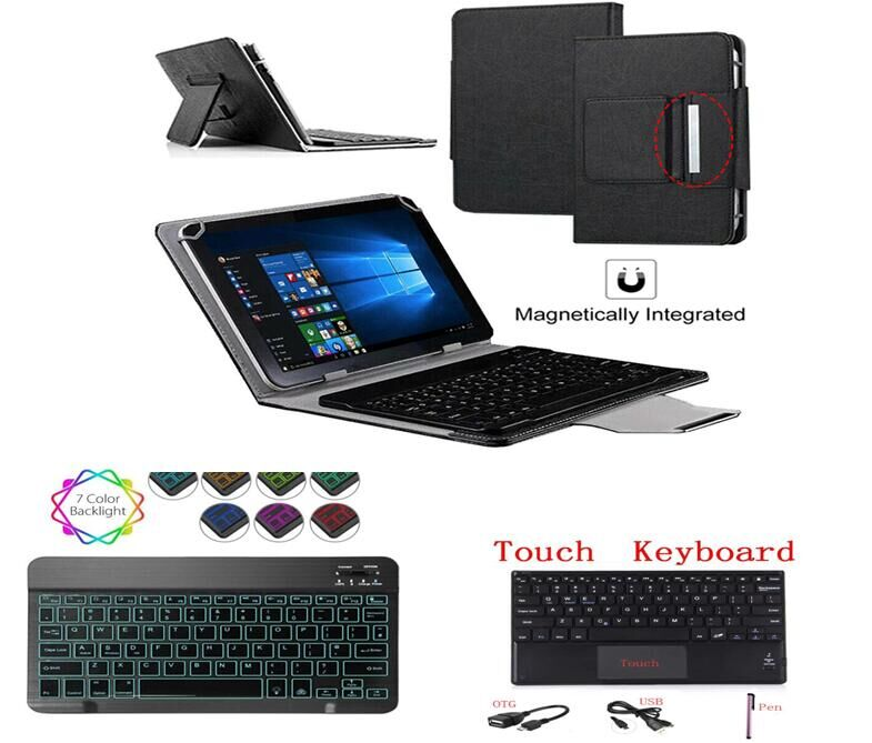 "Keyboard Cover for Cube T10/T12/iwork10 U100GT/Talk10 U31GT 10.1"" Tablet Stand Touch Light Backlit Bluetooth Keyboard Case + Pen"